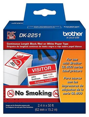 CINTA DK2251 BROTHER  QL-800 /810W/ 820NWB, Negro y Rojo sobre cinta Blanca 62mm x 15.2 m